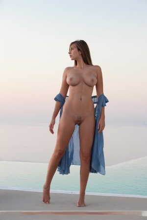 Erotic beauty Josephine sheds sexy dress to reveal hot body naked on her knees