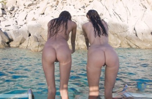 Horny Meli  her girlfriend skinny dipping and showing off wet ass  melons
