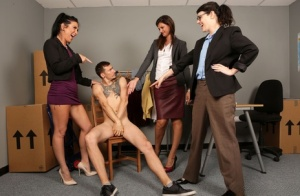 Women in short skirts strip coworker  fondle his penis in CFNM office sex