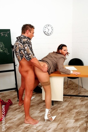 Kinky schoolteachers introduce a blonde schoolgirl to fully clothed sex games