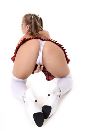 Cute school girl Alessandra Jane rides a dildo after taking off her clothes