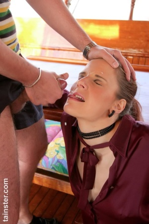 Kinky blonde chicks play watersports games on a houseboat