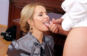Hot secretary in sexy thong sucks her boss  gets pounded on the office desk