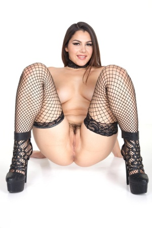 Gorgeous busty fetish girl Valentina Nappi in fishnet & cuffs spreading pussy 28789584
