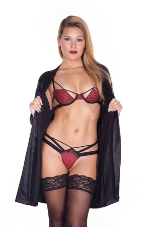 Tall blonde Abby Cross doffs a robes and pretties to pose nude in stockings