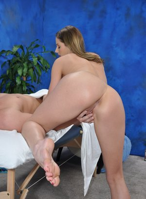18 year old masseuse hops on top a clients cock during a massage