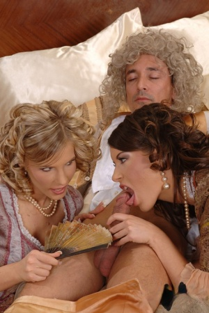 Hot Tiffany Rousso  Lora Craft licking pussy  sucking cock in costume 3some