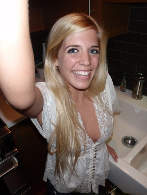 Young blonde girl takes nude and semi-nude selfies during solo action
