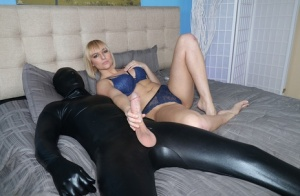Blonde female Kate England masturbates in lingerie while jerking a cock