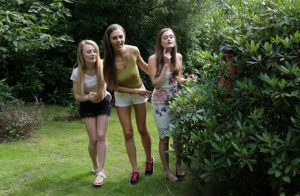 Three hotties please a horny voyeur by the side of a private lake