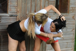 Lesbos Cat OConnell  Kayleigh Williams strip each others clothes outdoors