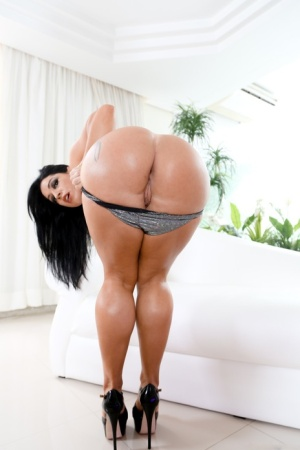 Thick Latina chick Monica Santhiago partakes in painful anal fucking