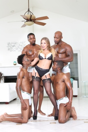 Hot slut Britney Amber in sexy lingerie taking on BBC in interracial gangbang
