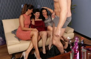 Three dressed up babes get to share a nice white dick at the house party