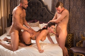 Latina pornstar Keisha Grey gets spit roasted in stockings by 2 men