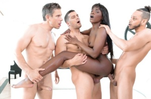 Stunning hot ebony Ana Foxxx gets mouthful of dripping cum in raunchy blowbang