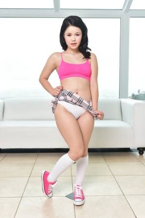Tiny Asian schoolgirl Yhivi gives lots of close ups of her sexy holes