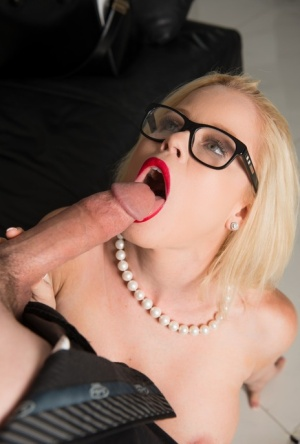 Busty blonde with sexy glasses Nikki Delano gives a nice blowjob in 69