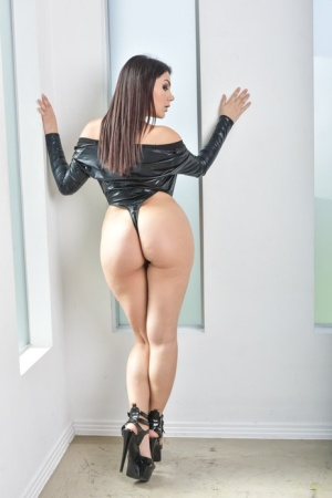 Hot solo girl Valentina Nappi strips off her leather onesie to model nude 87876871