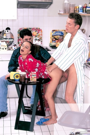 Cute young Peggy Sue in pigtails sucking cock in stepdads kitchen 3some