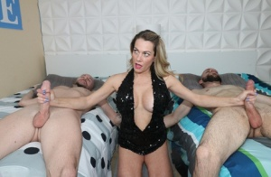 Dirty blonde Allura Skye jerks off two cocks in a cocktail dress  long gloves