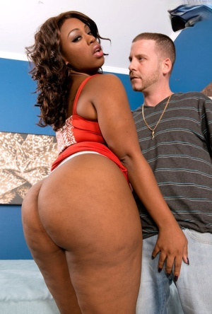 Sexy ebony fatty Cherise Roze getting her big black ass stripped for a banging