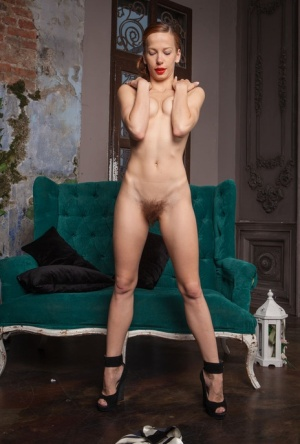 Skinny girl Dennie flaunts a very hairy pussy while posing her thin body nude