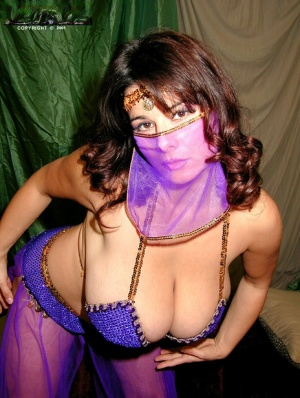 Solo model Chloe Vevrier sets her giant boobs free of belly dancer outfit