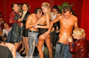 Horny sluts in stockings give hot head at crowded club party orgy