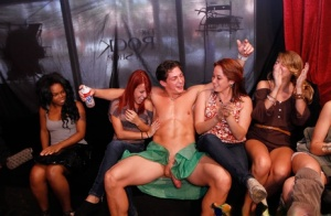 Girls night gets wild and crazy when they start sucking off male strippers