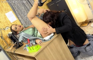 Satin clad secretary gets soaked in jizz by client in kinky office bang