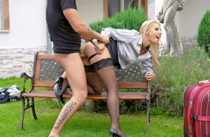 Fully clothed blonde hike up her skirt for a hard fuck in the garden