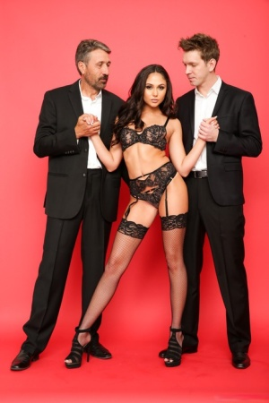 Cum slut Ariana Marie gets her tight ass & pussy filled in rough threesome DP 18446732
