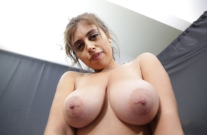 Busty brunette beauty bares big saggy tits  gets gonzo doggystyle drilling