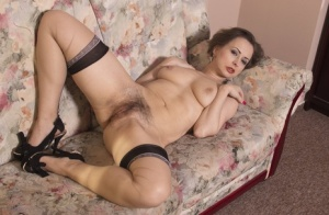 Mature mom in sheer black stockings spreading ass  hairy muff on her knees