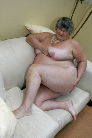 Obese granny Grandma Libby gets completely naked on a leather chesterfield 57470398