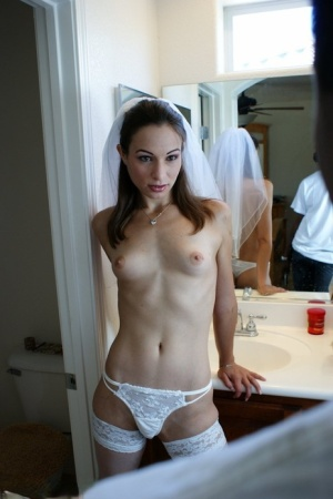 Small boobed bride gets her mouth and throat fucked by a huge black cock
