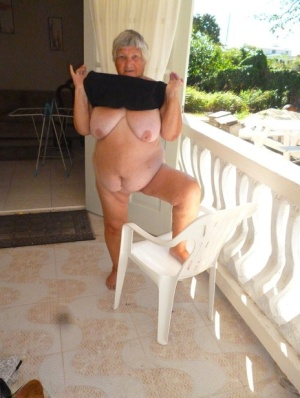 Fat oma Grandma Libby gets completely naked on a balcony by herself