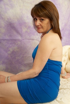 Slender hot granny Pandora bares small tits  asshole  poses on her knees