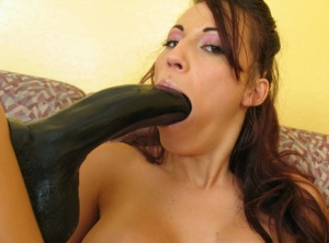 Busty chick parks her shaved vagina on top of a big black dildo