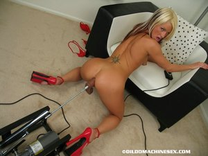 Blonde chick Celeste takes a machine dildo in her filthy asshole