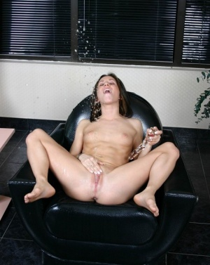 Solo girl Kream dildo fucks her cunt until squirting piss everywhere