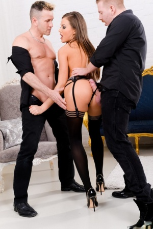 Hot white girl Tina Kay gets double fucked by man friends in black stockings