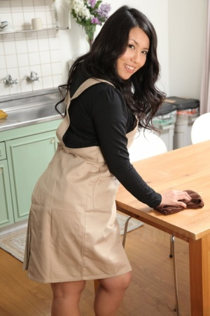 Japanese solo model Mikage Sakata strips to 2 piece lingerie in the kitchen