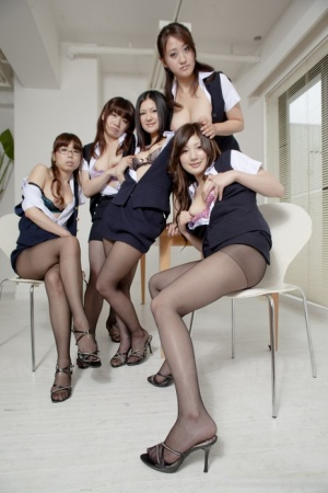 Group of Japanese girl show their beavers in sheer pantyhose