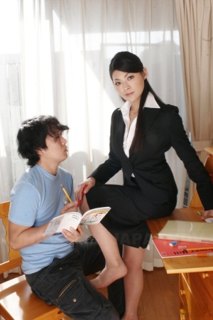 Hot Asian teacher Ryo Sasaki gives very young student a nude lesson in anatomy