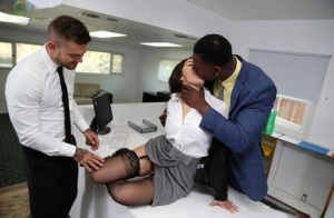 Sexy secretary sucks off big white and black dicks after fucking at work