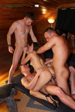 College students play group sex games during a dorm initiation