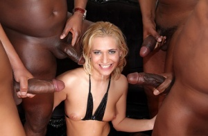Blonde slut Linda Ray gets double fucked by big black dicks during a gangbang 97643400