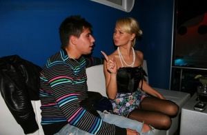 Blonde amateur Jocelyn kisses boys and girls during a night out